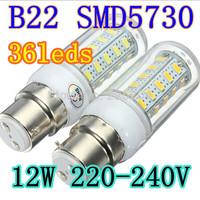 10pcs 5730 SMD cree chip LED Lamp B22 12W 220V-240V AC LED Bulb white/Warm white Blub corn