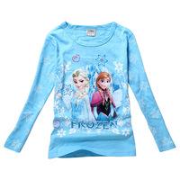 Frozen Children Girls T Shirt Clothing Tops Tees Cartoon Elsa Anna New 2014 Kids Atacado Roupas Infantil Long Sleeve 100% Cotton