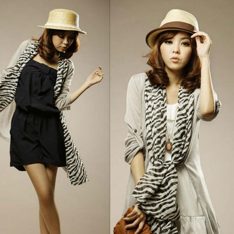 Big Promotion Women Pashmina Fashion Zebra Stripe Chiffon Scarf Brand Desigual Print Shawl Cheap Lady Wrap 135-155*47cm scarf003(China (Mainland))