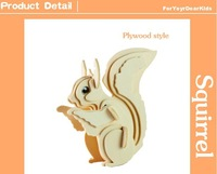 2014 new 3d wooden   squirrel  puzzle diy Godzilla toys  for kids educational baby games children handmade model free shipping