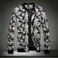 New plus size 5XL printing zipper casual jackets for men autumn winter spring men jackets fashion Men's Clothing>>Coats >Jackets
