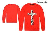2014 brand t-shirt USA Supreme power lovers long-sleeved tshirts men's Floral cross print Tops & Tees full T Shirts size S-XXL