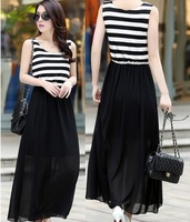 New 2014 Sexy Women Casual White&Black Striped Tank Sleeveless Chiffon Long Bohemian Dress Clothing Vestidos,Lady Dresses