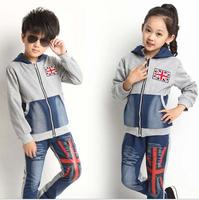 {jx} 010 coat+pants+t-shirt,2014 autumn children clothing sets,fashion boys girls brand clothes kids suit,child hooded/hoody