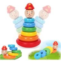 New Novelty Colorful Rainbow Strawberry tower Tumbler kids Fun Toys wood baby preschool educational toys wholesale retails 27-11