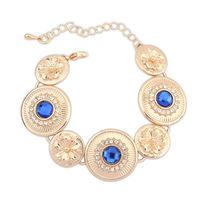 2014 New Round Gold Plated Flowers Crystal Glass Shiny Gem Statement Charms Bracelets&Bangles Fashion Women Jewelry