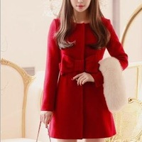 2014 new high quality single-breasted pure color slim Medium style coat European women fashion wool overcoat Size:S-L