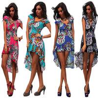 1078 free shipping 2014 summer women new fashion clothing 5colors short sleeve v neck irregular long maxi dress beach dresses