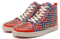 Free shipping fashion men's canvas flat sneakers designer spike studded casual shoes