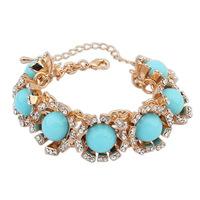 2014 New Luxury Crystal Big Gem High Quality Elegant Gold Plated Sunflower Style Charms Bracelets&Bangles Fashion Women Jewelry