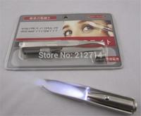 Eyebrow Tweezer Best Price New LED Light Make Up Eyelash Stainless Steel free shipping