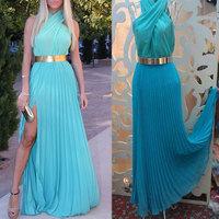 2014 Summer Sexy Maxi Dress Women Pleated Sleeveless Long Chffion Party Dresses Vestidos Casual Free Shipping WQW470