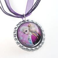 New 49cm Frozen Cartoon Necklace Frozen Pendant Purple Ribbon Necklace Frozen Necklace for Baby Girl Children Jewelry Decoration