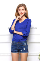 New 2014Woman's Blouses Europe and America Fashion Metal Badges Long Chiffon Sexy V-Neck Loose Plus Size Shirt Blue S-XL