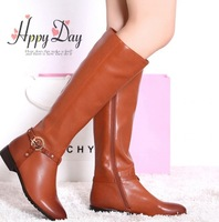 Plus Size 34-42 Winter Women's Brand Genuine Leather Knee Boots Ladies Fashion Black Knight Long Boots Buckle Knee-High Boots