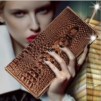 New 2014 Fashion Women's Crocodile Cowhide Leather Wallets Woman Long Wallet Card Holder Vintage Slim Wallet Free Shipping