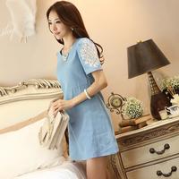 2014 summer loose plus size clothing a-line short-sleeve skirt cutout rhinestones cotton denim one-piece dress