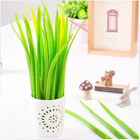 Wholesale 12pcs/lot Newest Gift idea Grass-blade pen pooleaf ballpoint pen small fresh Grass blade pen(China (Mainland))