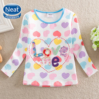 5Pcs/lot Neat 100% Cotton 2014 New Long-Sleeved t shirts Beautifully flowers embroidered baby Kids girl long sleeve tshirt L359#