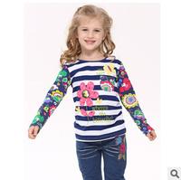 2014 autunm flower girls tshirt kids cotton long sleeve stripe cartoon tshirt girls top wear