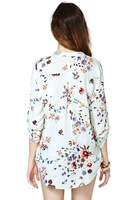 2014 New Brand Lady Printed Cotton Long-sleeved V-neck Pullover Casual Shirt Good Sale XZR04