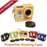 Free shipping Gopro Camera Aluminium Protective Housing Case Border Multifunction Gopro Hero 3 3+ Protective Case