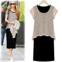 2014 summer fashion medium-long plus size clothing slim hip step skirt faux two piece short-sleeve dress