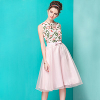 2014 SUMMER WEAR Women's fashion slim chiffon organza embroidery short-sleeve dresses