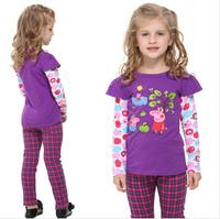 2014 autunm flower girls tshirt kids cotton long sleeve embroidery cartoon purple tshirt free shipping