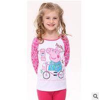 New 2014 autunm flower girls cute pig tshirt kids cotton sleeve embroidery tshirt free shipping