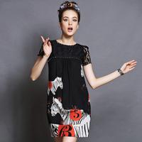 women's Zebra print lace stitching black dress 2014 summer Horse printing Rivet decoration plus size loose dress