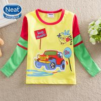 NEAT Wholesale new 2014 free shopping baby&kids cute car boys t shirt printing car stripe children's clothing 100% cotton L885#