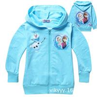 Kids Girls Boys Child Baby Long Sleeve Princess Frozen Elsa Anna Olaf Blue 100% Cotton Fleece Hoodie Zip Jackets Jumper H0140756