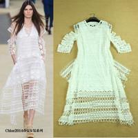 New fashion 2014 plus size runway dress novelty  vintage grace ladies sexy party white lace maxi long dress