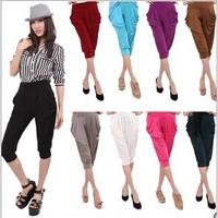 Fashion Womens solid capris Viscose legging candy color elastic loose harem pants plus size female 2014 capris women