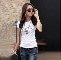 Summer cotton short-sleeve 100% T-shirt Women short design plus size loose short-sleeve women's t-shirt top basic t shirt