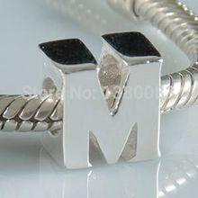 1PCS/lot diy alphabet M Charm Beads 925 sterling silver jewelry Fits European Pandora Style Bracelets