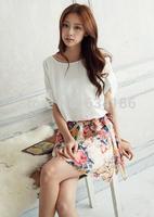 Summer 2014 new fashion  Floral Chiffon Dress bat sleeve maxi plus dress women 8500