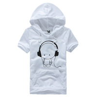 Short-sleeve men's clothing cartoon print t-shirt summer lovers slim class service with a hood short-sleeve T-shirt