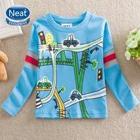 NEAT new 2014 free shopping baby&kids cute boys long sleeve t shirts printing car stripe children's clothing 100% cotton L890#