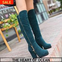 2014 Fashion Korean Style PU Leather Women Boots Zipper Sequined High Leg Boots Winter Long Shose S033