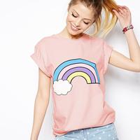 Fashion fresh richcoco rling clouds roll-up hem print short-sleeve round neck T-shirt