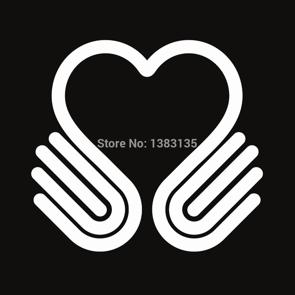 Hands heart symbol vector car window sticker vinyl decal funny jdm and