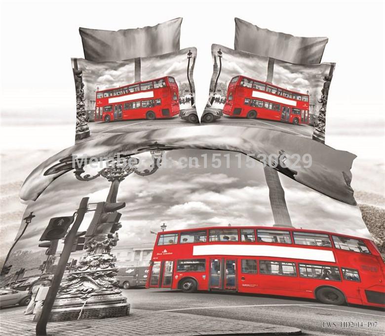 Amor em londres cama definir 3d luxo casamento lençol tampa Quilt / edredon colcha roupas de cama Queen size de cama de algodão conjuntos(China (Mainland))