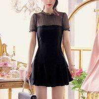 Black / khaki pleated princess sleeves Slim thin waist solid color waist dress a word