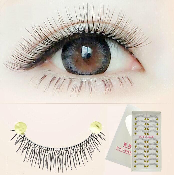 2014 Handmade Fake False eyelashes Lashes Transparent makeup cilios posticos natural false eyelashes With Retail Box 10 Pairs(China (Mainland))