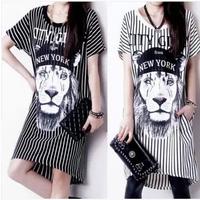 2014 summer new women's  loose lion printed short-sleeved striped skirt package hip dress NZ420