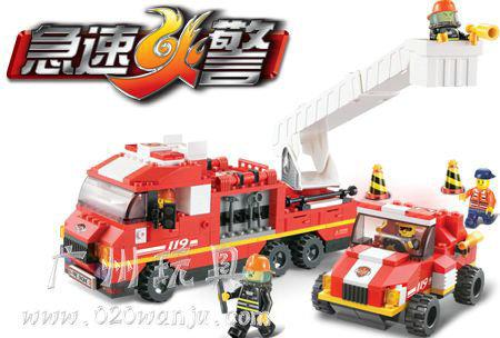 2x without origin box lubanBuilding Block Set SLuBanM38-B0223 119 fire service center/the specialist fire brigade 369PCS,3DModel(China (Mainland))