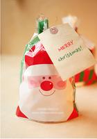 PP067 Merry Christmas Santa Clauze Transparent Biscuit Food Favor Packaging Bags Cookie Packaging Wedding Gift Bags 50Pcs/lot