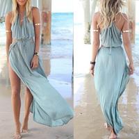 Vestido Women Summer Dress Drawstring Strapless Hollow Spaghetti Sheer Long Bohemian Beach Sexy Dresses Free Shipping WQD098